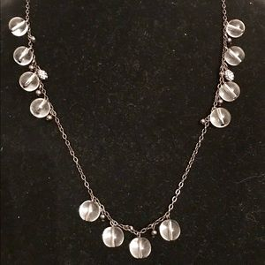 J. Crew 33 inch necklace with clear beads.